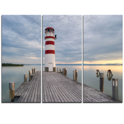 Designart Lighthouse At Lake Neusiedl At Sunset Bridge Triptych Canvas Art Print