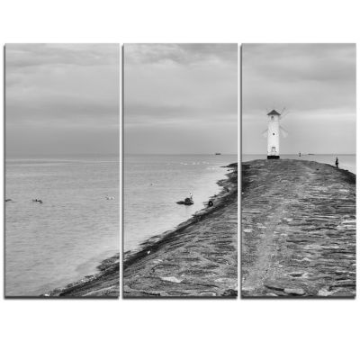 Designart Lighthouse Windmill Stawa Mlyny In GreySeascape Triptych Canvas Art Print