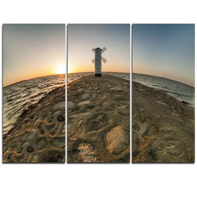 Designart Lighthouse Windmill Stawa Mlyny SeascapeTriptych Canvas Art Print
