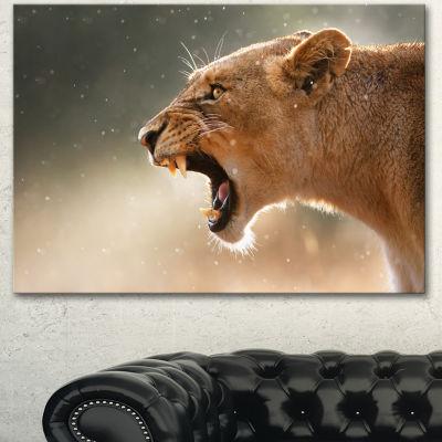 Designart Lion Showing Dangerous Teeth African Canvas Art Print - 3 Panels