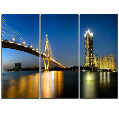 Designart Lit Up Bhumibol Bridge At Dusk CityscapeTriptych Canvas Art Print