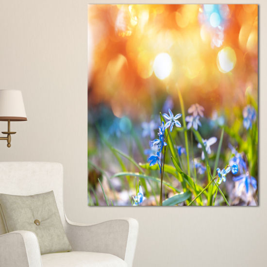 Designart Little Flowers Meadow With Snowdrops Floral Canvas Art Print