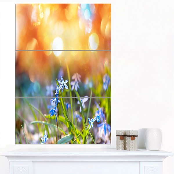 Designart Little Flowers Meadow With Snowdrops Floral Canvas Art Print - 3 Panels
