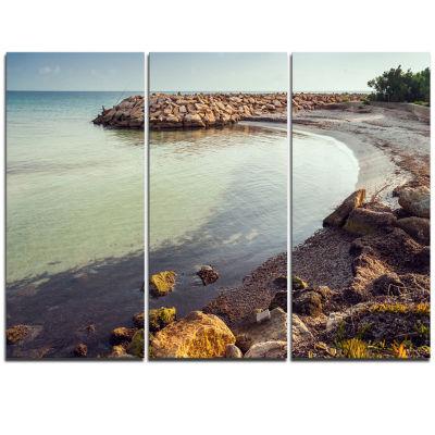 Designart Little Lagoon With Fishermen Africa Extra Large Seashore Triptych Canvas Art