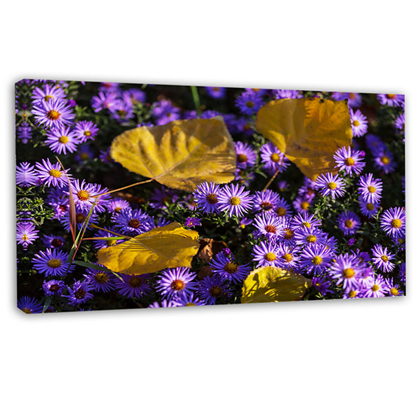 Designart Little Purple Flowers And Yellow Leavesfloral Canvas Art