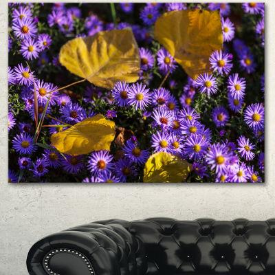 Designart Little Purple Flowers And Yellow LeavesFloral Canvas Art Print - 3 Panels