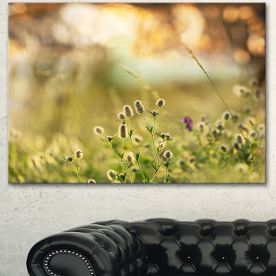 Designart Little Summer Flowers In Meadow Large Flower Canvas Wall Art - 3 Panels