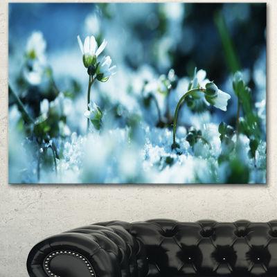 Designart Little White Flowers In Meadow Large Flower Canvas Wall Art - 3 Panels