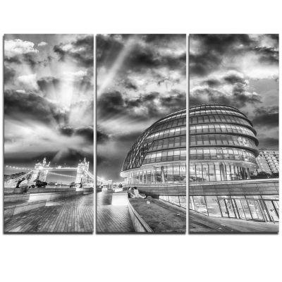 Designart London Night Cityscape Around SouthwarkCityscape Triptych Canvas Print