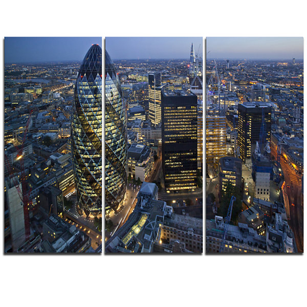 Designart London Skyline At Sunset Cityscape Triptych Canvas Print