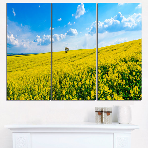 Designart Lone Tree In Blooming Cozla Park Contemporary Landscape Triptych Canvas Art