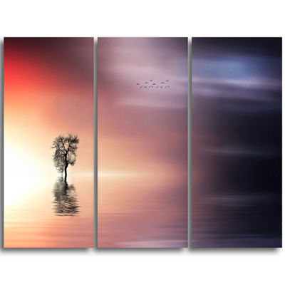 Designart Lonely Tree And Birds Panorama Extra Large Wall Art Landscape