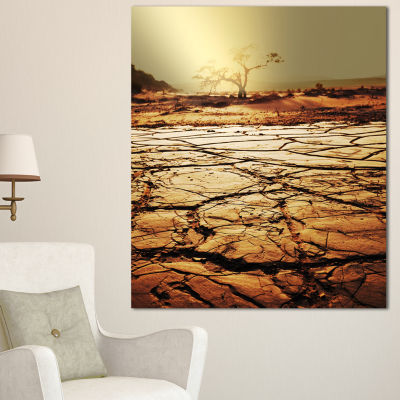 Designart Lonely Tree In Drought Land African Landscape Canvas Art Print - 3 Panels