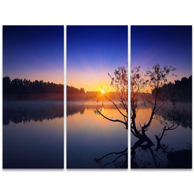 Designart Lonely Tree In Pond In Blue Extra LargeWall Art Landscape