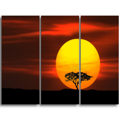 Designart Lonely Tree With Birds At Sunset Extra Large Wall Art Landscape