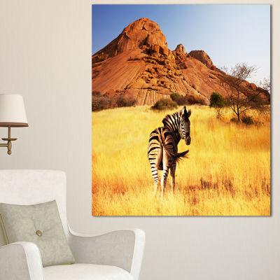 Designart Lonely Zebra In African Prairie AfricanCanvas Art Print