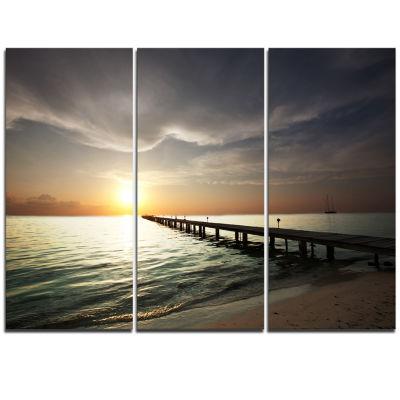 Designart Long Boardwalk In The Cloudy Dark Sea Bridge Triptych Canvas Art Print