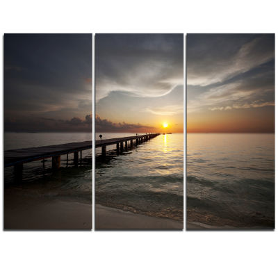 Designart Long Boardwalk Into The Sunset Sea Bridge Triptych Canvas Art Print