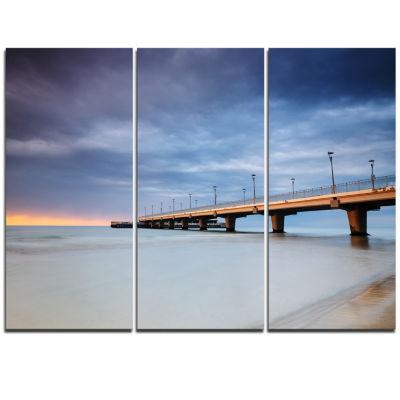 Designart Long Concrete Pier Into Sea Sea Bridge Triptych Canvas Art Print