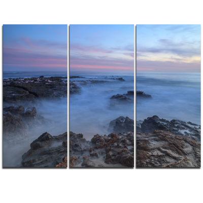 Designart Long Exposure At Sunset Over Rocks Modern Beach Triptych Canvas Art Print