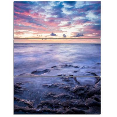 Designart Long Exposure Twilight Sea Rocks Beach Photo Triptych Canvas Print
