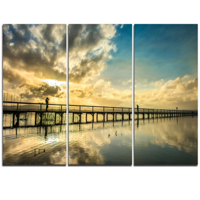 Designart Long Jetty Foreshore Reserve With CloudsSea Bridge Triptych Canvas Art Print