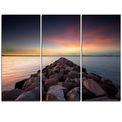 Designart Long Stone Bridge Into Beautiful Sea Large Seashore Triptych Canvas Print