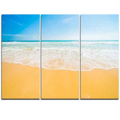 Designart Long Waves On Sand Under Blue Sky Seascape Triptych Canvas Art Print