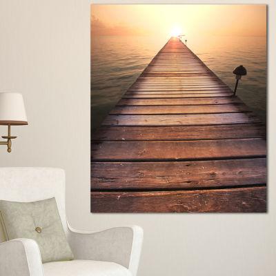 Designart Long Wooden Boardwalk Into Sea SeashoreCanvas Art Print - 3 Panels