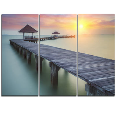 Designart Long Wooden Bridge Into The Sunrise PierTriptych Canvas Art Print