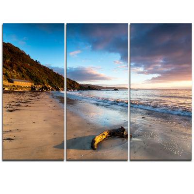 Designart Looe Cornwall Beach At Sunrise Modern Beach Triptych Canvas Art Print