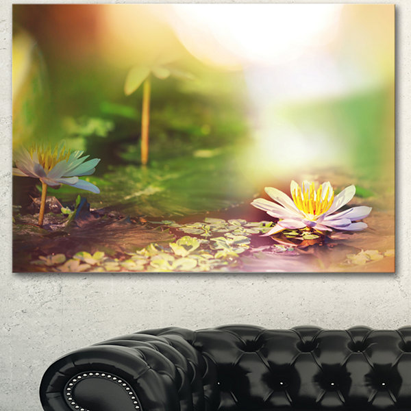 Design Art Lotus Flowers On Green Background LargeFlower Canvas Art Print