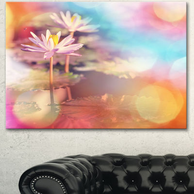 Designart Lotus On Abstract Background Floral Canvas Art Print