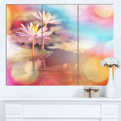 Designart Lotus On Abstract Background Floral Canvas Art Print - 3 Panels