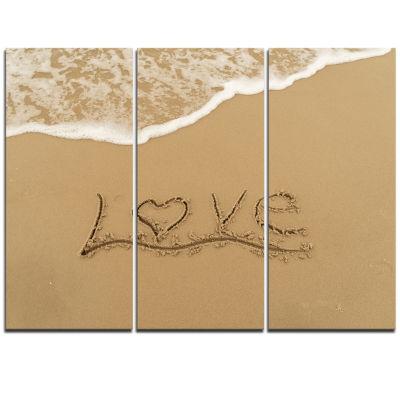 Designart Love Written On Sandy Seashore SeashoreTriptych Canvas Art Print