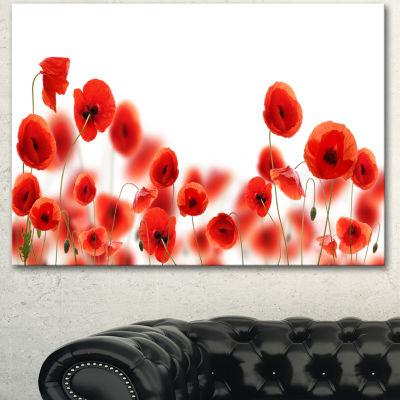 Designart Lovely Poppy Flowers On White Floral Canvas Art Print - 3 Panels