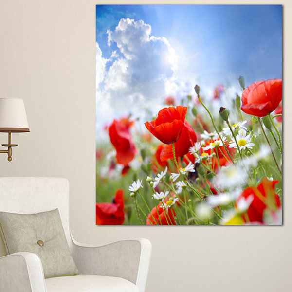 Designart Lovely Red Poppies On Sky Background Floral Canvas Art Print