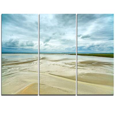 Designart Low Tide In Mont Saint Normandy Oversized Landscape Wall Art Print
