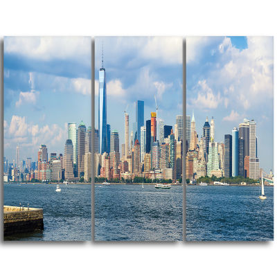 Designart Lower Manhattan Skyline Panorama Cityscape Triptych Canvas Art Print