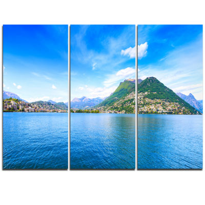 Designart Lugano Lake Ticino Panorama Extra LargeSeashore Triptych Canvas Art