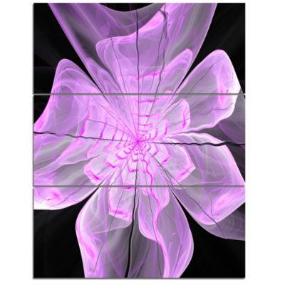 Designart Lush Purple Digital Art Fractal FlowerFloral Triptych Canvas Art Print