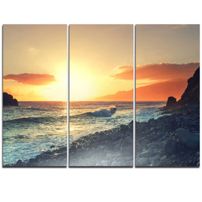 Designart Madeira Coast With Blue Waters Large Seashore Triptych Canvas Print