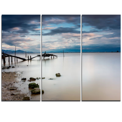 Designart Magic Sunrise With Old Wooden Pier PierSeascape Triptych Canvas Art Print