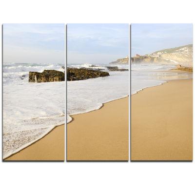 Designart Magoito Beach Portugal Seascape TriptychCanvas Art Print