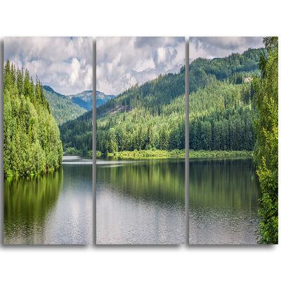 Design Art Majestic Lake Between Forest LandscapePrint Wall Artwork