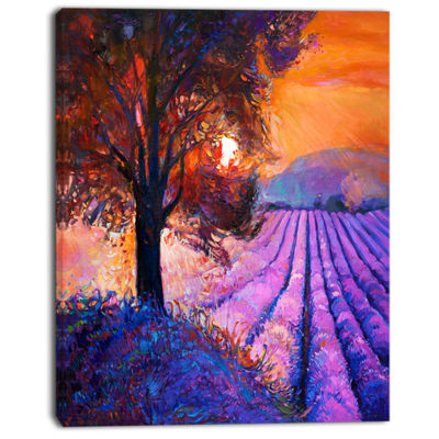 Designart Majestic Lavender Field And Tree FloralCanvas Art Print