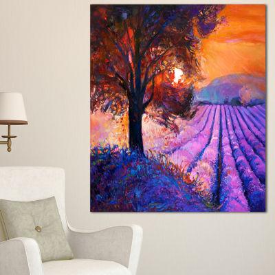 Designart Majestic Lavender Field And Tree FloralCanvas Art Print - 3 Panels