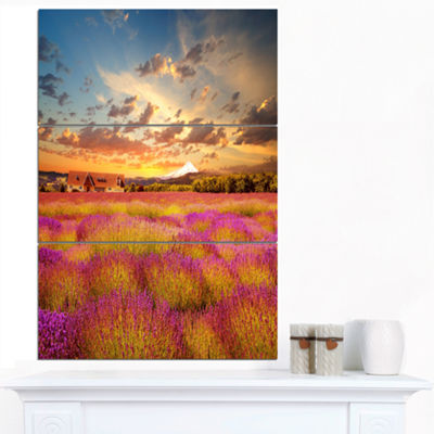 Designart Majestic Lavender Field At Sunset FloralCanvas Art Print - 3 Panels