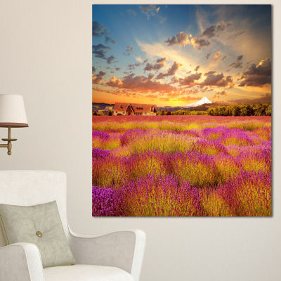 Design Art Majestic Lavender Field At Sunset Floral Canvas Art Print - 3 Panels
