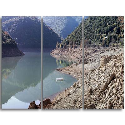 Designart Majestic Mountain Lake Panorama Landscape Triptych Canvas Art Print
